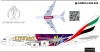 Airbus A-380 Emirates ICC Cricket world cup 2019 Decal 1\144